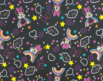 Jersey knit fabric Minnie rainbow, kids clothing, handmade, sewing, leggings, crafts, dress, birthday, gift for mum, cotton lycra, bags