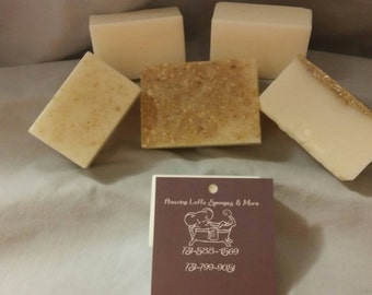 5 ounce bars of all natural goat milk soap.