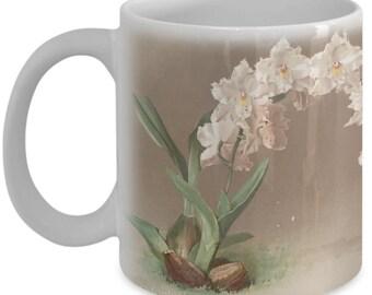 Coffee mugs w/ orchids flowers: botanical prints - Ontoglossum crispum