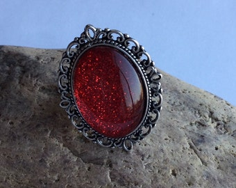 Ring glitter red large
