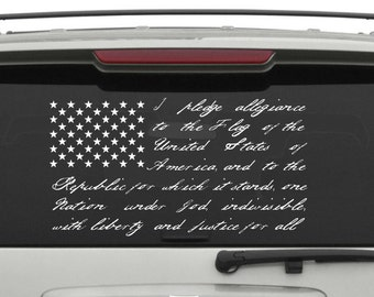 Pledge of Allegiance vinyl decal/ sticker/ flag/ usa/ united states / free shipping
