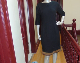wool Sheath With Mink Trim