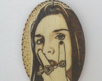 Marilyn Manson and The Spooky Kids Woodburned Portrait of an American Family Oval Portrait Necklace