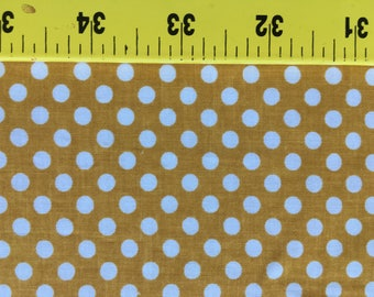 "Quilting Cotton Small white dots on Gold.  1 yd 28"" available."