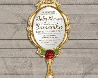 Classic Rose Mirror Baby Shower Invitation, beauty, beast, roses, tale, time, classic, beautiful, simple, digital file, printable