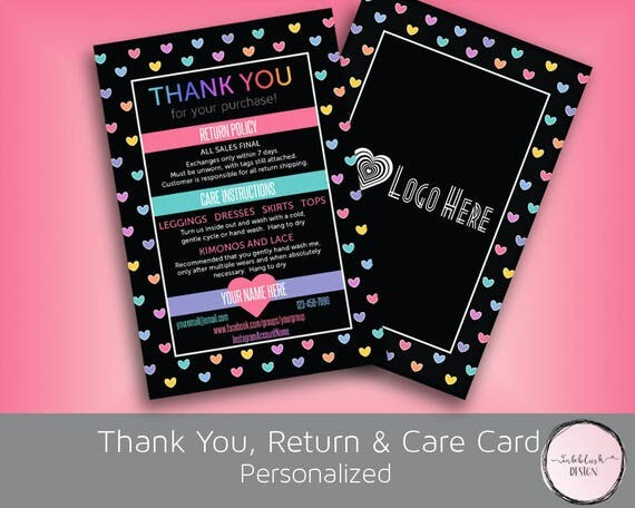etsy policies template - items similar to thank you cards with return policy and