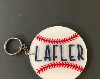 Personalized baseball or softball keychain **free shipping**