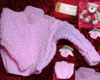 Baby Pink Baby's First Aran Jumper