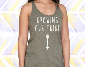 Growing Our Tribe Maternity Tank Top / Pregnancy Announcement Shirt / Maternity Tshirt [R0290]