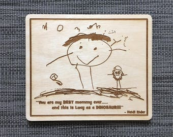 Child's Drawing, Kid, Art, Personal, Love Letter, Recipe Card, Signature, Custom, Laser, Engraving, Engrave, Wood, Sign, Gift, Present