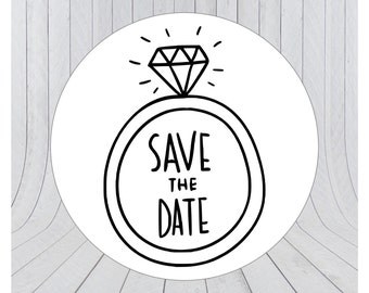 24 x Save the date stickers, Engagement stickers, Save the date labels, Envelope seals, 034