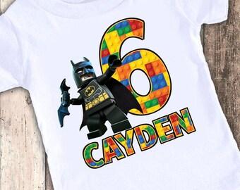 Batman Super Hero Blocks custom designed birthday t shirt tshirt personalized