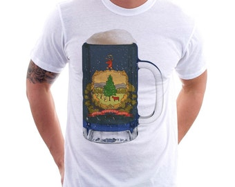 Vermont State Flag Beer Mug Tee, Unisex, Home Tee, State Pride, State Flag, Beer Tee, Beer T-Shirt, Beer Thinkers, Beer Lovers Tee, Fun Beer