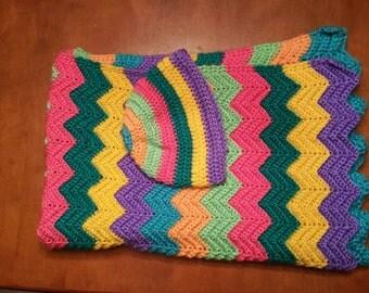 Bright Chevron Baby Blanket with Newborn hat