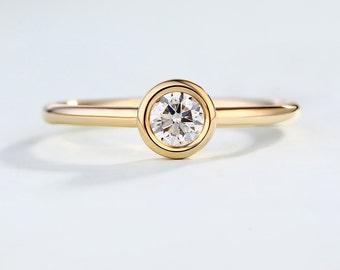 Minimalist Engagement Ring Simple Delicate wedding bezel set Solid 14K Gold Tiny Dainty Round brilliant Diamond ring Promise Anniversary