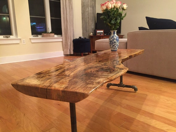 live edge silver maple long coffee table