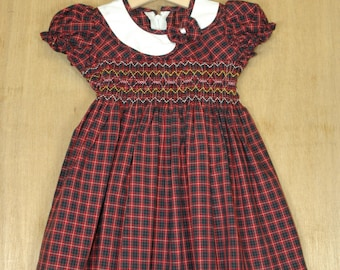 Hand Smocked and Embroidered Girl's tartan dress