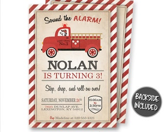 Fire Truck Invitation, FireTruck Invitation, Fire Engine Invitations, Fire Truck Party, Birthday, Personalized, Birthday Party, Printables