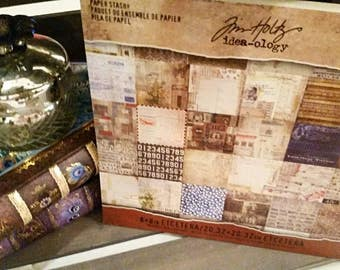 "Tim Holtz Idea-ology 8 x 8"" 36 Sheet Etcetera Paper Stash Pad"