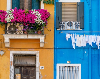 Burano, Italy, Flowers Photography, Burano Print,Colourful Wall Art, Colorful Italy, Italy Print, Home Decor, Italy Photography