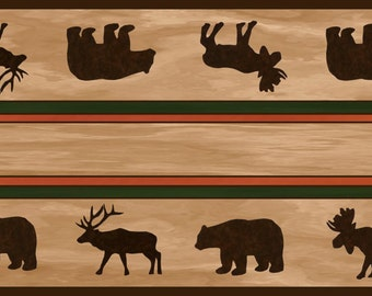 Lodge table runner, lodge decor, cabin decor, bear and moose, ultra suede table runner