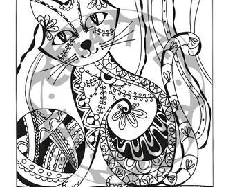 Cat Color Page , digital Download JPG / PDF 300 dpi Instant download printable,mandala download