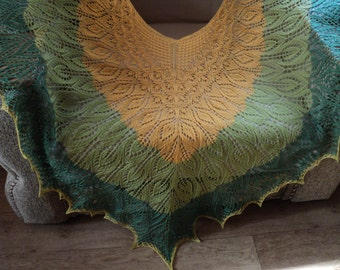 Lace multi-color shawl, Luxury shawl from 100% Merino wool