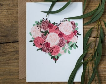 Botanical Floral Illustrated Heart Love Valentines Day Greetings Card