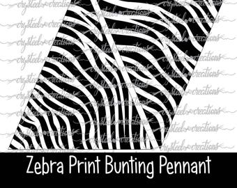 Zebra Print Triangle Bunting Pennant Banner Instant Download, Party Decorations, Print and Cut file, Silhouette, Cricut, Safari