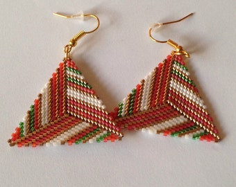 Black Miyuki triangle earrings