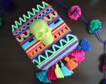 Colorful Neon Day of the Dead Skull