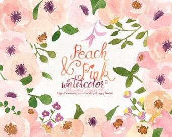 80% OFF! Watercolor Flora 11 Clipart, Flowers Clipart, Flower, Floral, PNG, Clip Art, Watercolour, Peach, Pink