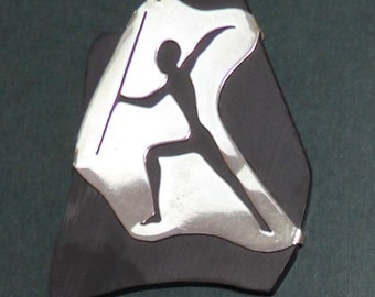 Necklace Native Spearmen Cutout Silver on Basinite 1