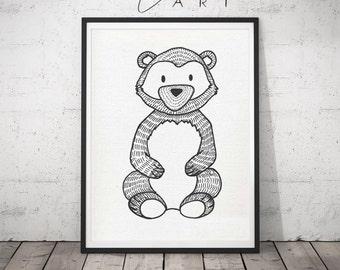 Black&White Bear Print for your nursery, Modern Nursery Animals, Animal Wall Art, Kids Room Decor, Contemporary Art,Baby Room gift