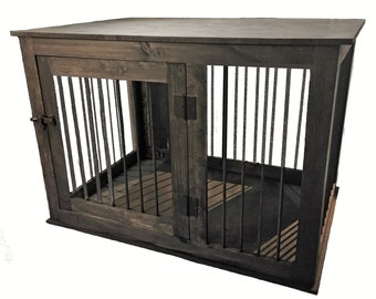 items similar to extra large side entry wood dog crate furniture custom made to order on etsy. Black Bedroom Furniture Sets. Home Design Ideas