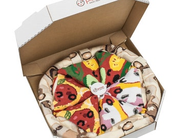 Pizza Socks Box 4 pair Mix Vege, Capriciosa Pepperoni Pizza Original Unique socks Made in UE ideal for gift, Surprise! High QUALITY cotton