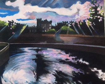 SOLD. Landscape Painting: Kilkenney Castle from the Bridge, Ireland