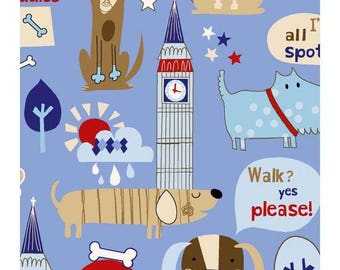 Cotton Fabric Quilting London Dogs