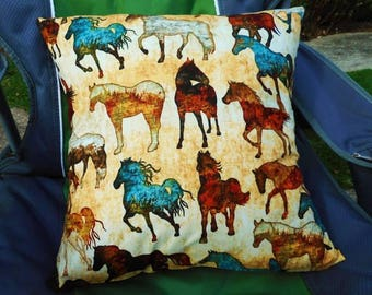 Horses on Beige Cushion Cover - Ready to Ship