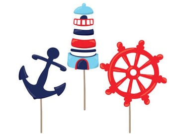 Nautical cupcake toppers, Nautical party, Nautical baby showet, cupcake toppers, Nautical decorations, birthday party, party supplies