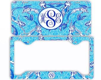 aqua teal mermaids license plate frame car tag monogrammed frame personalized set custom initials - Mermaid License Plate Frame