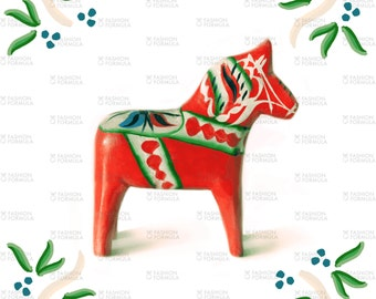 Dala Horse Folk Art in Red Fabric by ThistleandFox