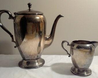 Vintage Antique Keystonwear Silver Plated Tea/Coffee Pot With Creamer