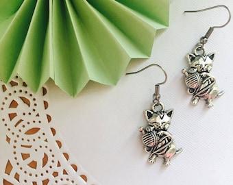Small earrings, Cat charm , earrings, stainless steel, stainless, Artistochats