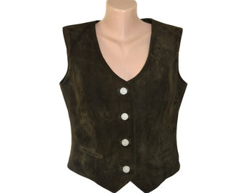 Vintage Eduard Kettner women vest suede genuine leather brown size 44