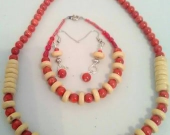 Coral, wood beaded handcrafted jewelry set