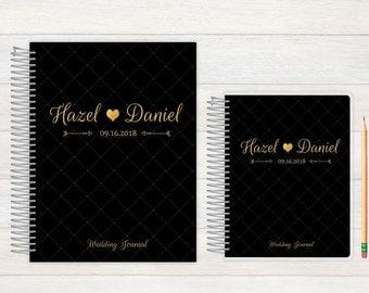 Wedding Journal, Wedding notebook, custom Wedding journal, Personalized Bridal journal, Personalized journal, fancy black and gold