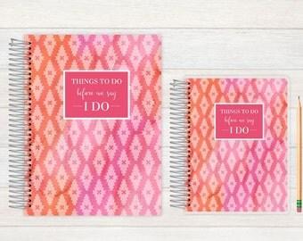 Wedding Journal, Wedding notebook, custom Wedding journal, Personalized Bridal journal, Personalized journal, pink and orange