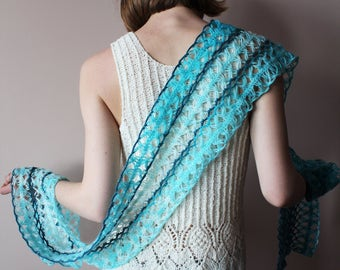Knit scarf, openwork scarf, mohair scarf, lace scarf, blue scarf,  knit stole,  knit shawl, knitted scarf, knitted stole, handknit wrap