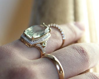 Pale Green Crystal and Diamond Ring